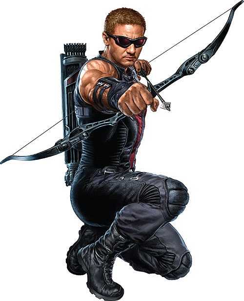 Movie version of Hawkeye with drawn bow