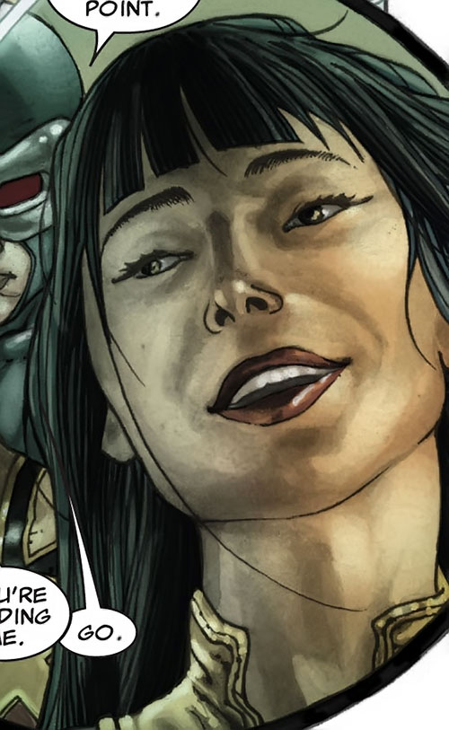 Armor of the X-Men (Hisako Ichiki) (Marvel Comics) happy face closeup