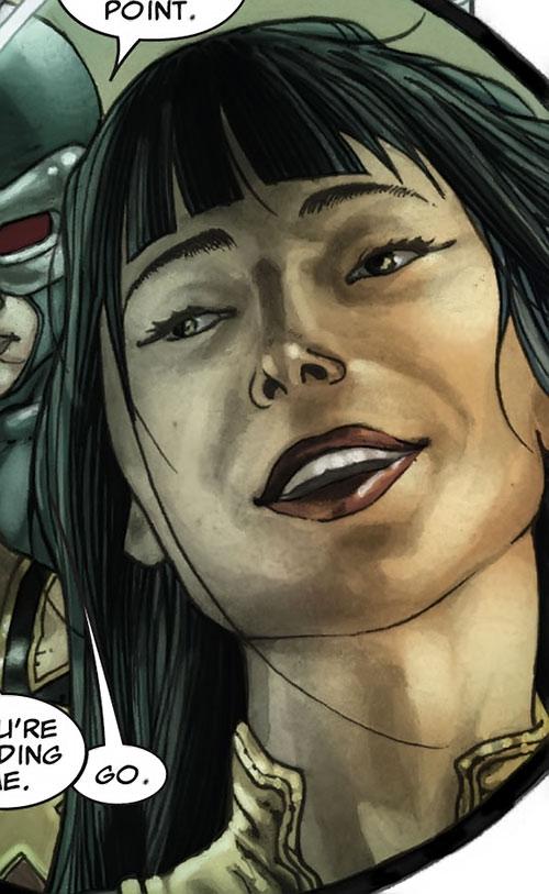 Armor of the X-Men (Hisako Ichiki) (Marvel Comics) happy face closeup