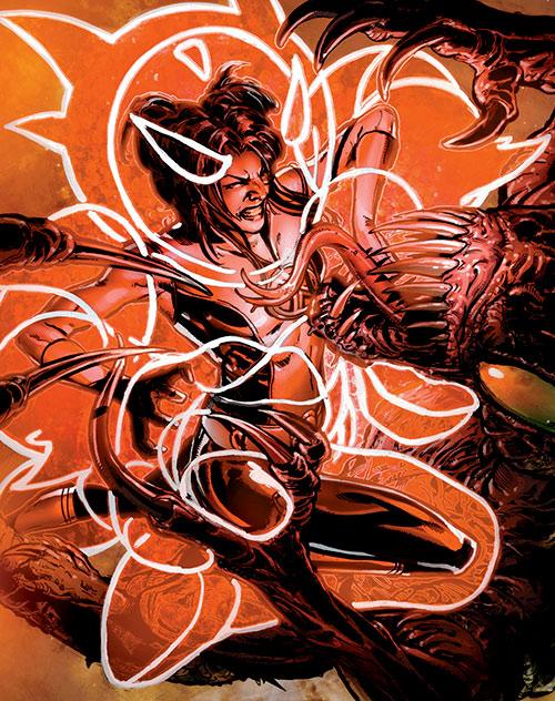 Armor of the X-Men (Hisako Ichiki) (Marvel Comics) fighting Brood warriors