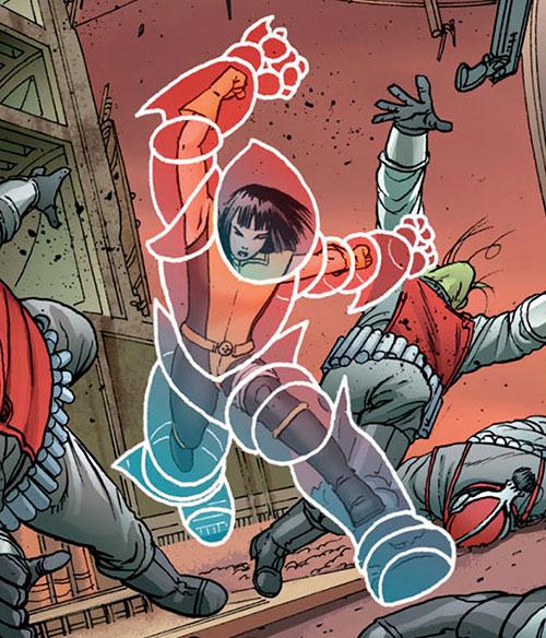 Armor of the X-Men (Hisako Ichiki) (Marvel Comics) fighting aliens