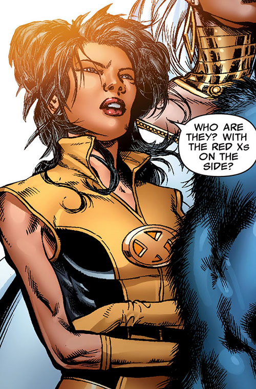 Armor of the X-Men (Hisako Ichiki) (Marvel Comics) next to Storm