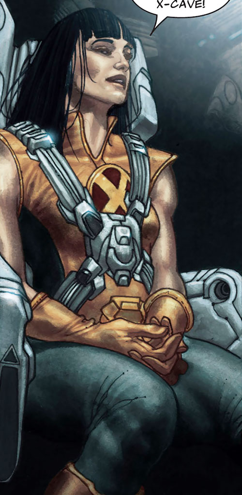 Armor of the X-Men (Hisako Ichiki) (Marvel Comics) strapped in the X-Plane