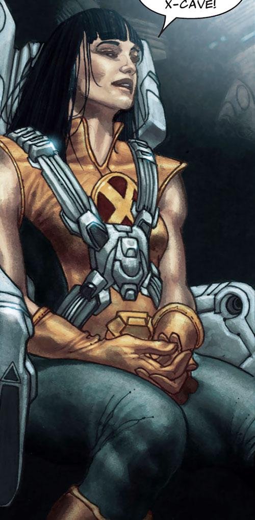 Armor of the X-Men (Hisako Ichiki) (Marvel Comics) strapped in the X-Plane