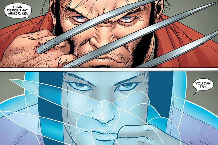 Armor provoking Wolverine
