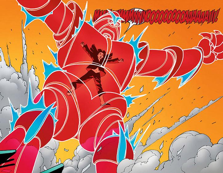 Armor expanding her psionic exoskeleton