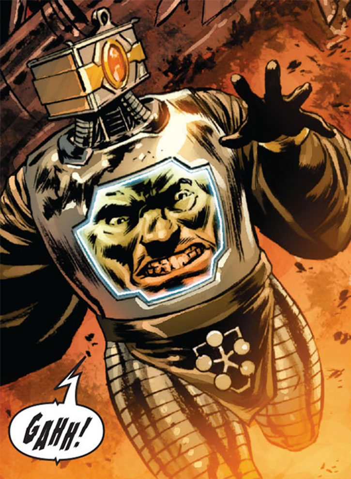 Arnim Zola runs from an explosion