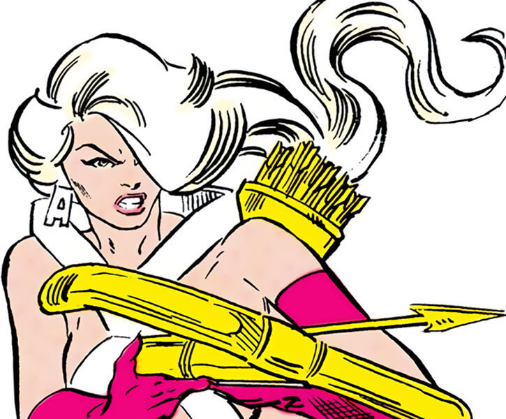 Artemis Crock (Infinity, Inc enemy) (DC Comics) (Early career) aiming her crossbow