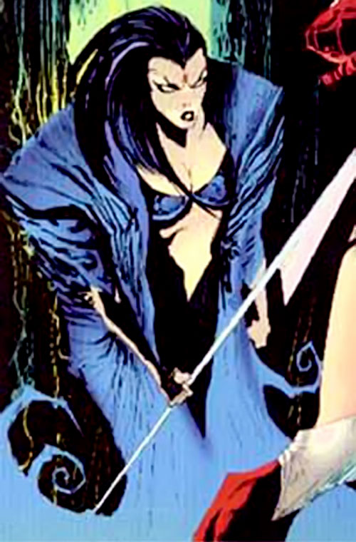 Artemis of the Coda (WildCATs character) with a clef blade and blue coat