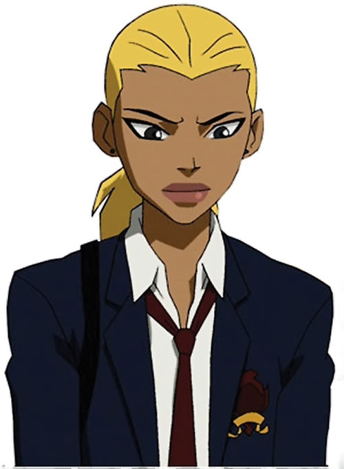 Artemis of Young Justice (TV Cartoon series) in a school uniform