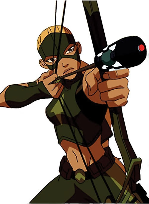 Artemis of Young Justice (TV Cartoon series) aiming a trick arrow
