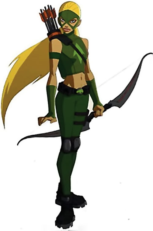 Artemis of Young Justice (TV Cartoon series) with hair to the wind