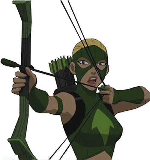 Artemis of Young Justice (TV Cartoon series) aiming and talking