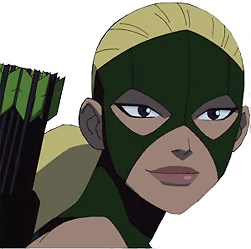 Artemis of Young Justice (TV Cartoon series) face closeup with mask