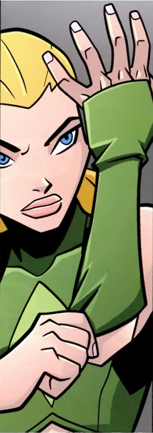 Artemis of Young Justice (TV Cartoon series) put on a glove
