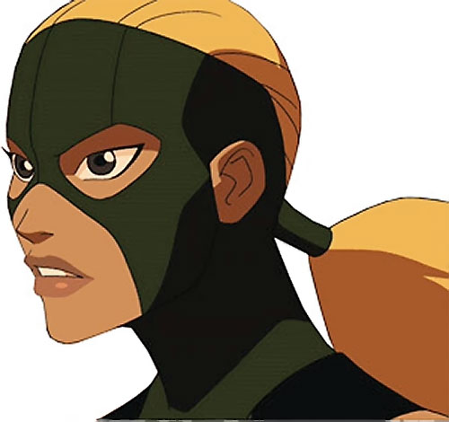 Artemis of Young Justice (TV Cartoon series) side face closeup