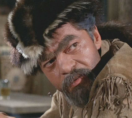 Artemus Gordon (Ross Martin in Wild Wild West) disguised as a trapper with an unibrow