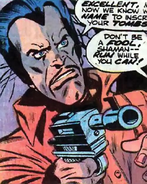 Arthur Shaman (Defenders / Ms. Marvel enemy) (Marvel Comics) pointing a laser pistol