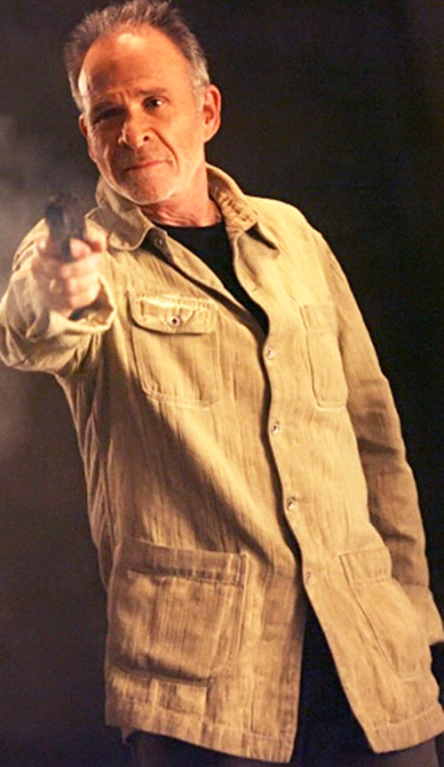 Arvin Sloane (Ron Rifkin in Alias) pointing a pistol