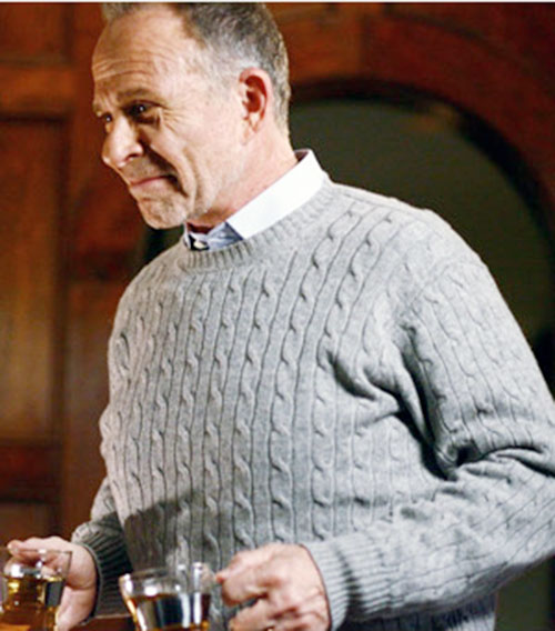 Arvin Sloane (Ron Rifkin in Alias) in a light grey knit sweater