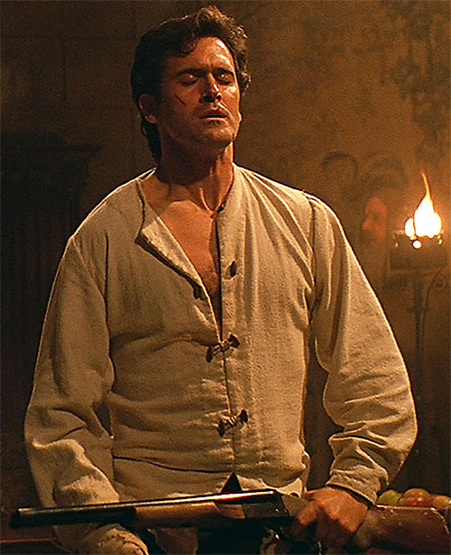 Ash (Bruce Campbell in Evil Dead) in a medieval shirt