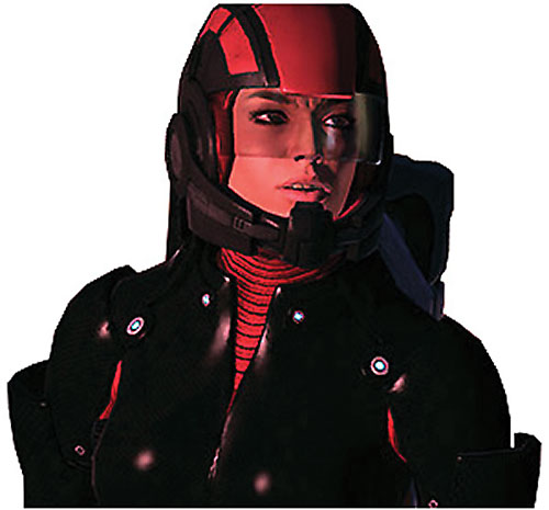 Ashley Williams in Mass Effect 1 - portrait in black and red armor