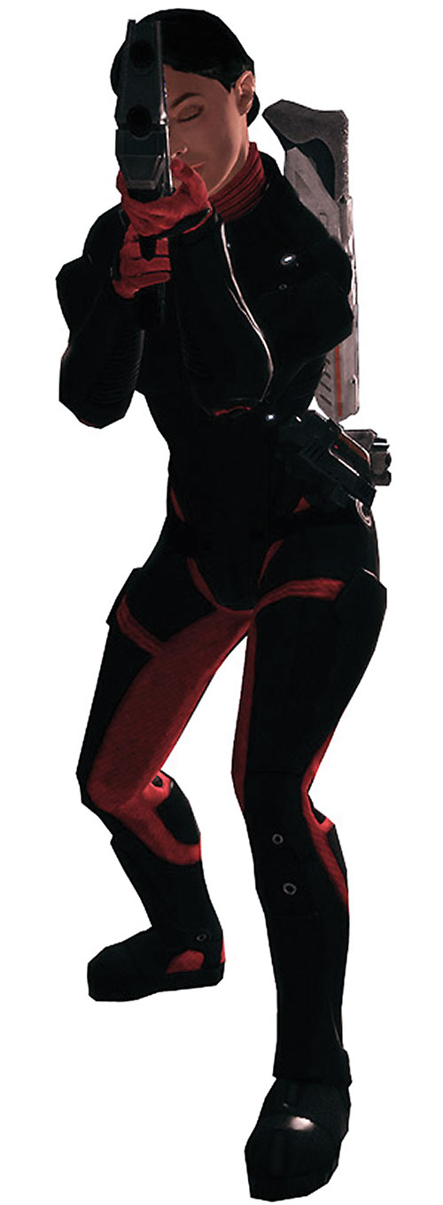 Ashley Williams in Mass Effect 1 - aiming a rifle in Colossus armor