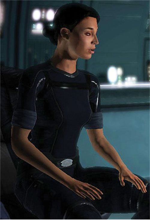 Ashley Williams in Mass Effect 1 - sitting in her blues