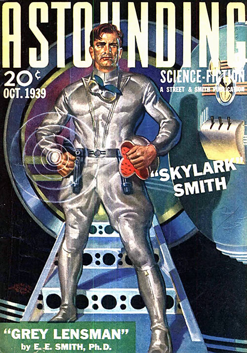 Cover of the Astounding pulp magazine in 1939, with the Grey Lensman story by Doc Smith