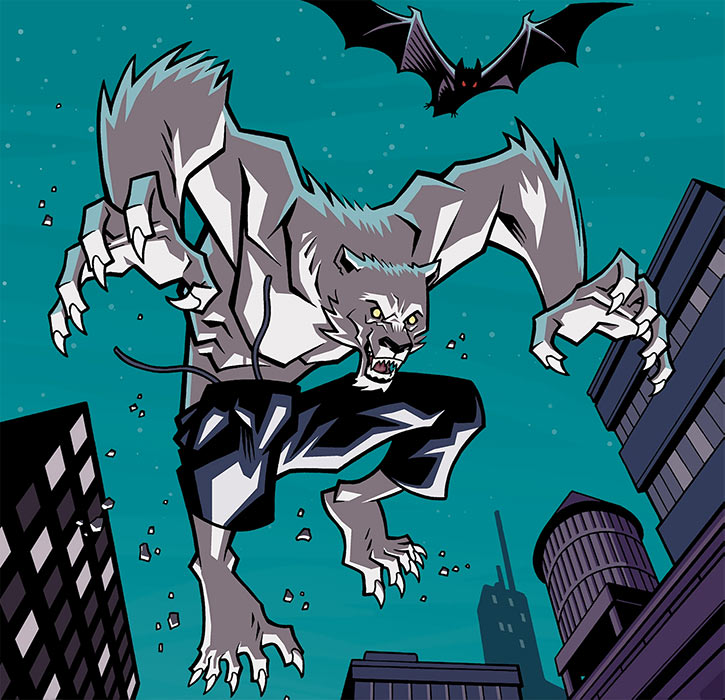 The Astounding Wolf Man leaping across rooftops by night, with a vampire bat - Image Comics