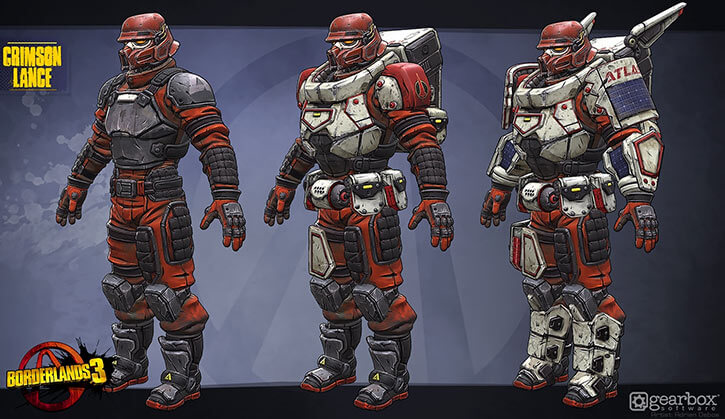 Atlas Corporation (Borderlands games) Crimson Lance trooper Adrien Debos concept art three variants
