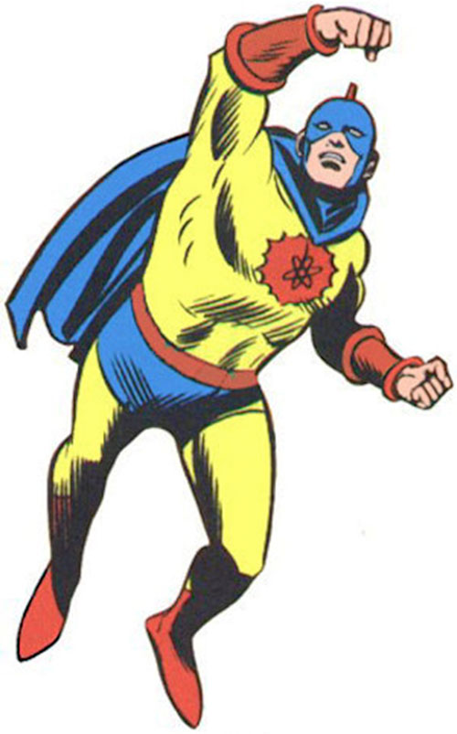 Vintage art of the Atom with the finned costume