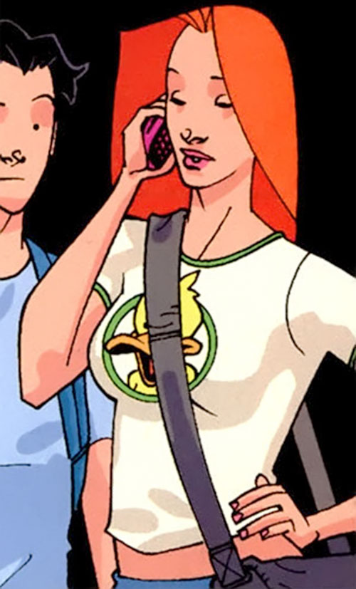 Atom Eve (Invincible comics) on the phone in her civvies