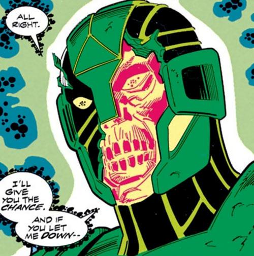 Atom-Smasher (War Machine character) (Marvel Comics) with a broken helmet