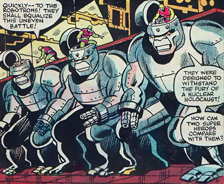 The Atom-Smasher's henchmen scramble their Robotrons