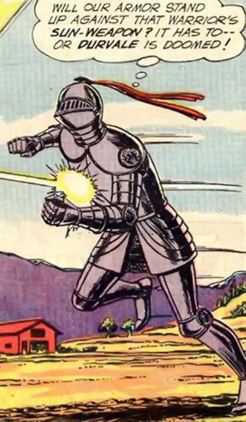 Atomic Knight (DC Comics) ignoring energy gun fire