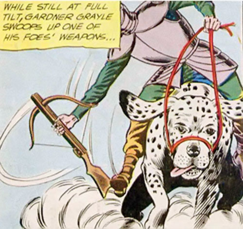 Atomic Knight (DC Comics) on a giant Dalmatian grabbing a crossbow