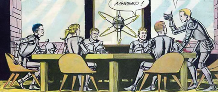The Atomic Knights assembled in meeting
