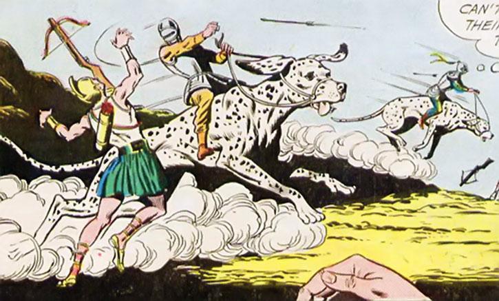 Two Atomic Knights neutralize crossbowmen on their giant dalmatians