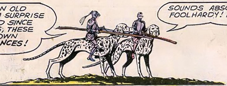Two Atomic Knights riding their giant dalmatians
