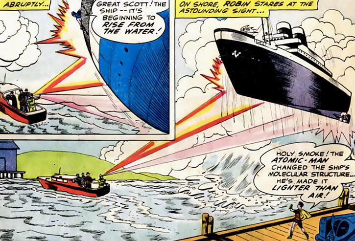 Atomic Man (DC Comics) (1960 Batman enemy) levitates a large ship