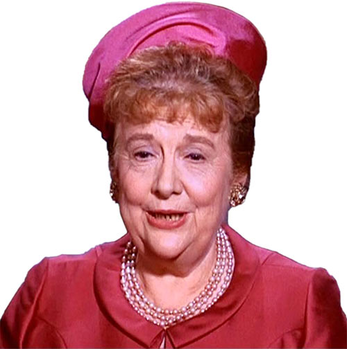 Aunt Harriet (Madge Blake in 1966 Batman TV show) in red and pink