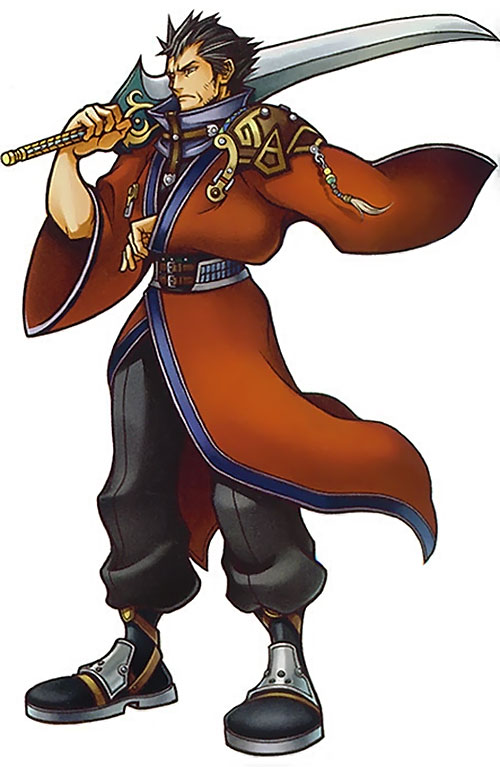 Auron (Final Fantasy X) with his sword on his shoulder