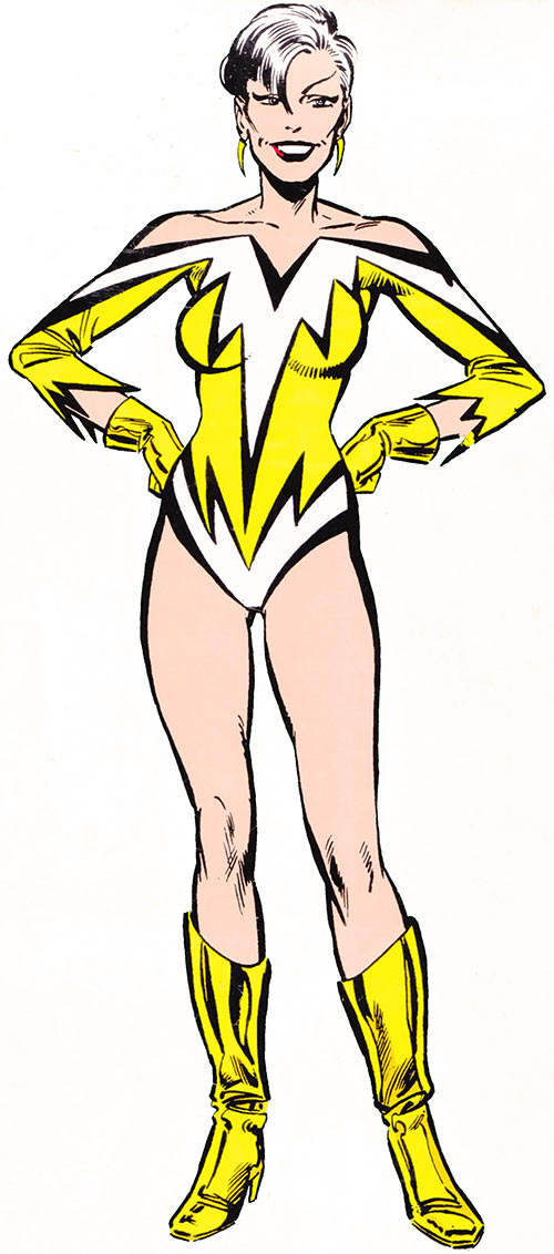 Aurora of Alpha Flight (Marvel Comics) (Yellow costume) classic handbook illustration