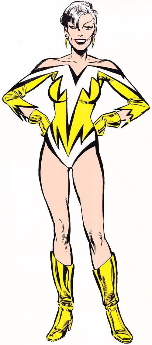 Aurora of Alpha Flight (Marvel Comics) (Yellow costume) classic handbook illustration