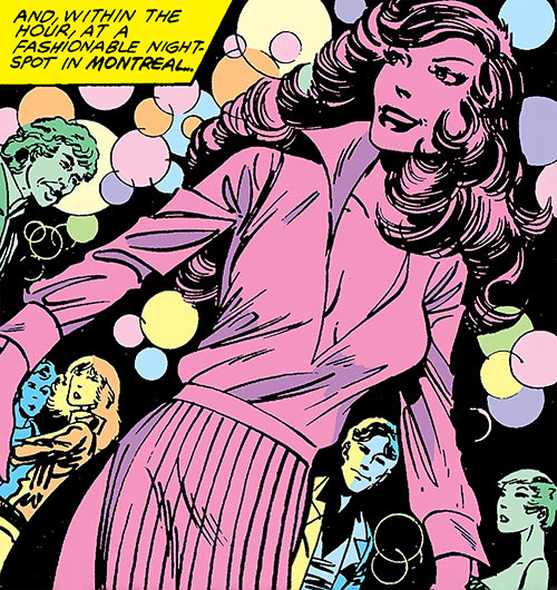 Aurora of Alpha Flight (Marvel Comics) partying in a club