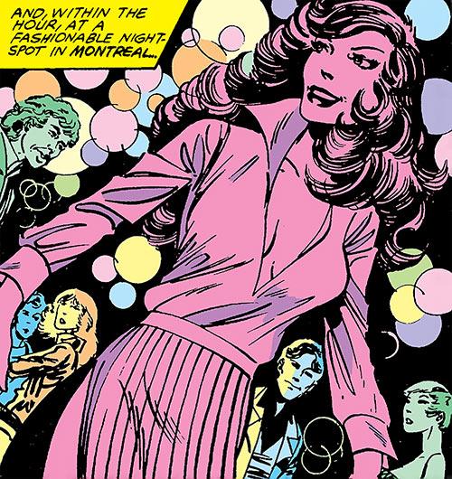Aurora of Alpha Flight (Marvel Comics) partying in a club