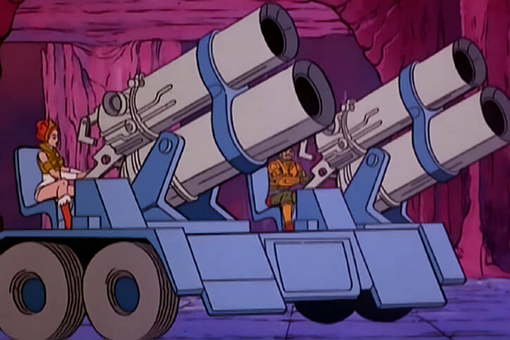 Masters of the Universe (1980s cartoon) - Avion photon cannons manned by Teela and Man-at-Arms