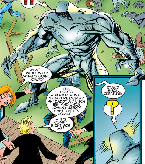 Awesome Replicoid facing Franklin Richards (Marvel Comics)