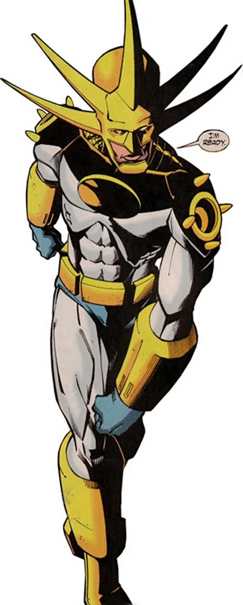 Aztek (DC Comics) power walking high angle shot